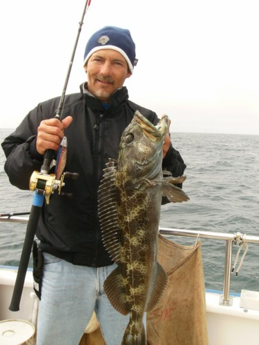 Jake with one of several lingcod landed on September 3, 2007